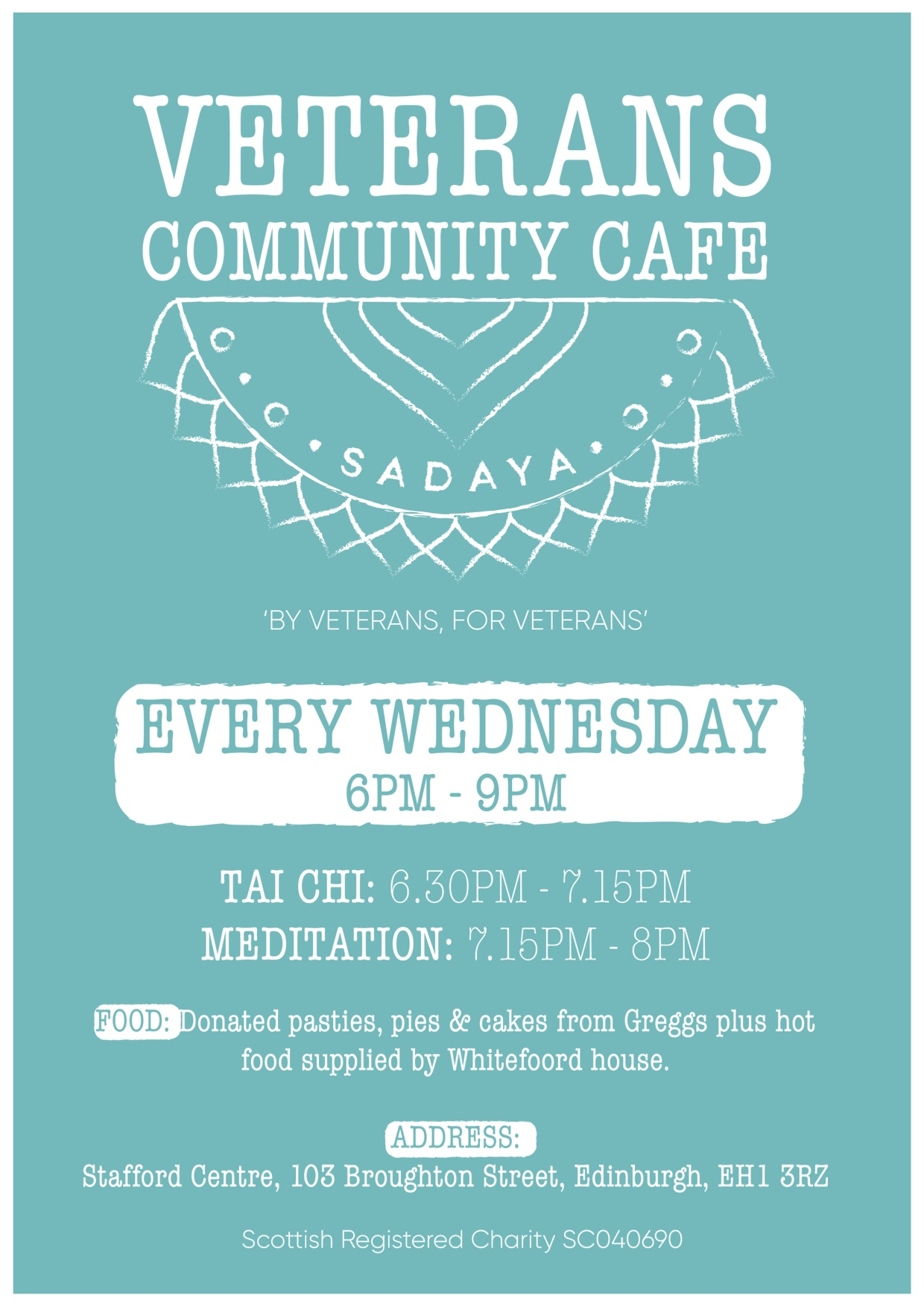 Veterans community cafe every Wednesday 6-9pm